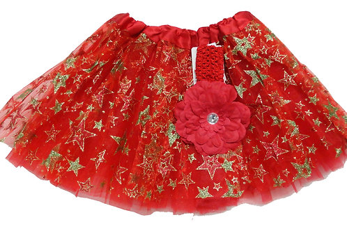 TC-313L  Girls' Star Tutu with Head Band and Flower