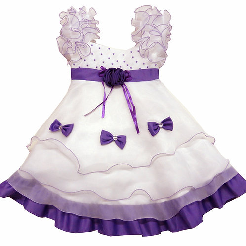 84-608X Girls' (4-6X) Organza  Bead Dress