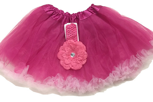 T168L Girls' Tutu with Head Band and Flower
