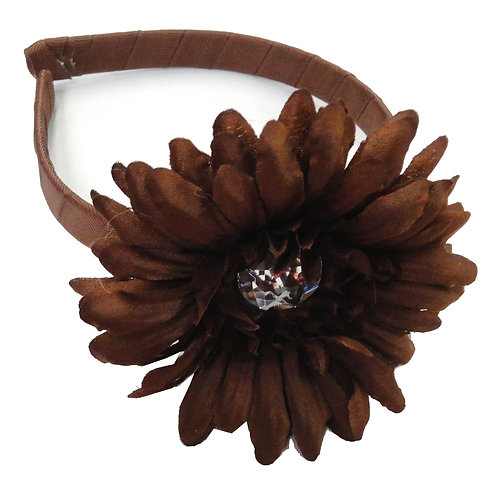 T344 Girl Satin Rosette Adjustable Headband
