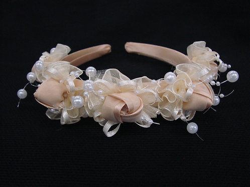 V-63 Girl Satin Rosette Headband