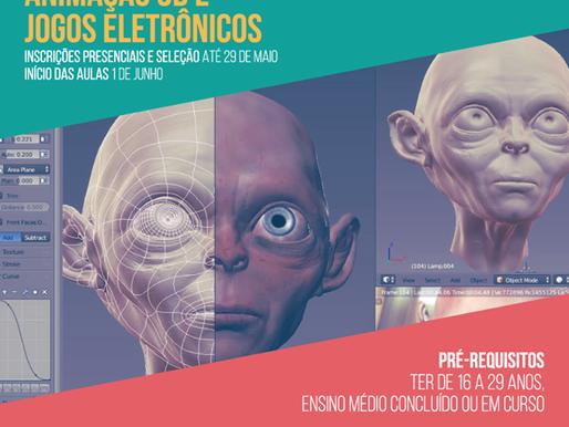 Inscrições abertas para os cursos de Animação 3D e Jogos
