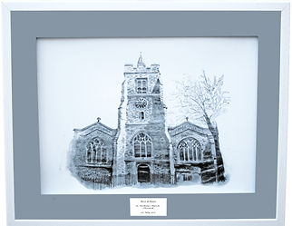 Personalised wedding venue illustrations - St Nicholas church, chiswick, London. A unique and personalised wedding gift.