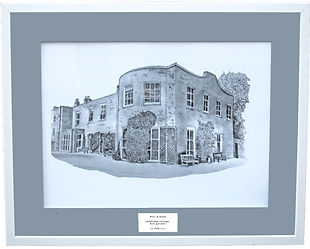 Personalised wedding venue illustratotion by artist Kay Armstrong - Cambridge Cottage, Kew Gardens. A unique wedding gift idea.