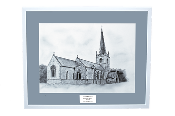 Personalised wedding venue illustration by artist, Kay Armstrong - St. Giles Church, Balderton. Unique wedding gift or personal keepsake