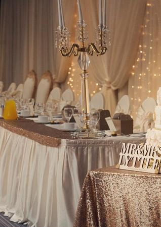 Mr & Mrs Lights / Fairylight backdrop / Top table skirt runner