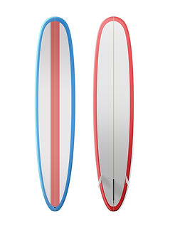 Red white and blue surfboard