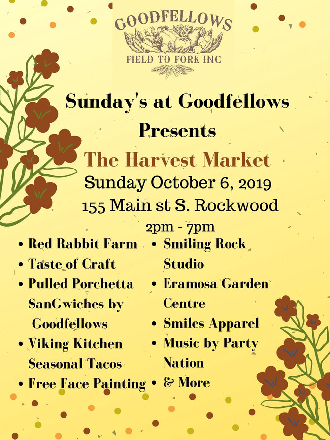 Sunday's at Goodfellows Presents The Harvest Market