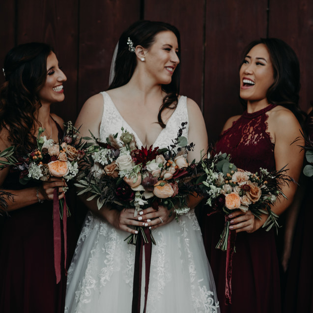 Romantic Moody Winery WeddingBride and Bridesmaids Bouquet