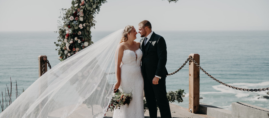 Black Sand Beach Wedding with English Garden and Country Vintage Florals