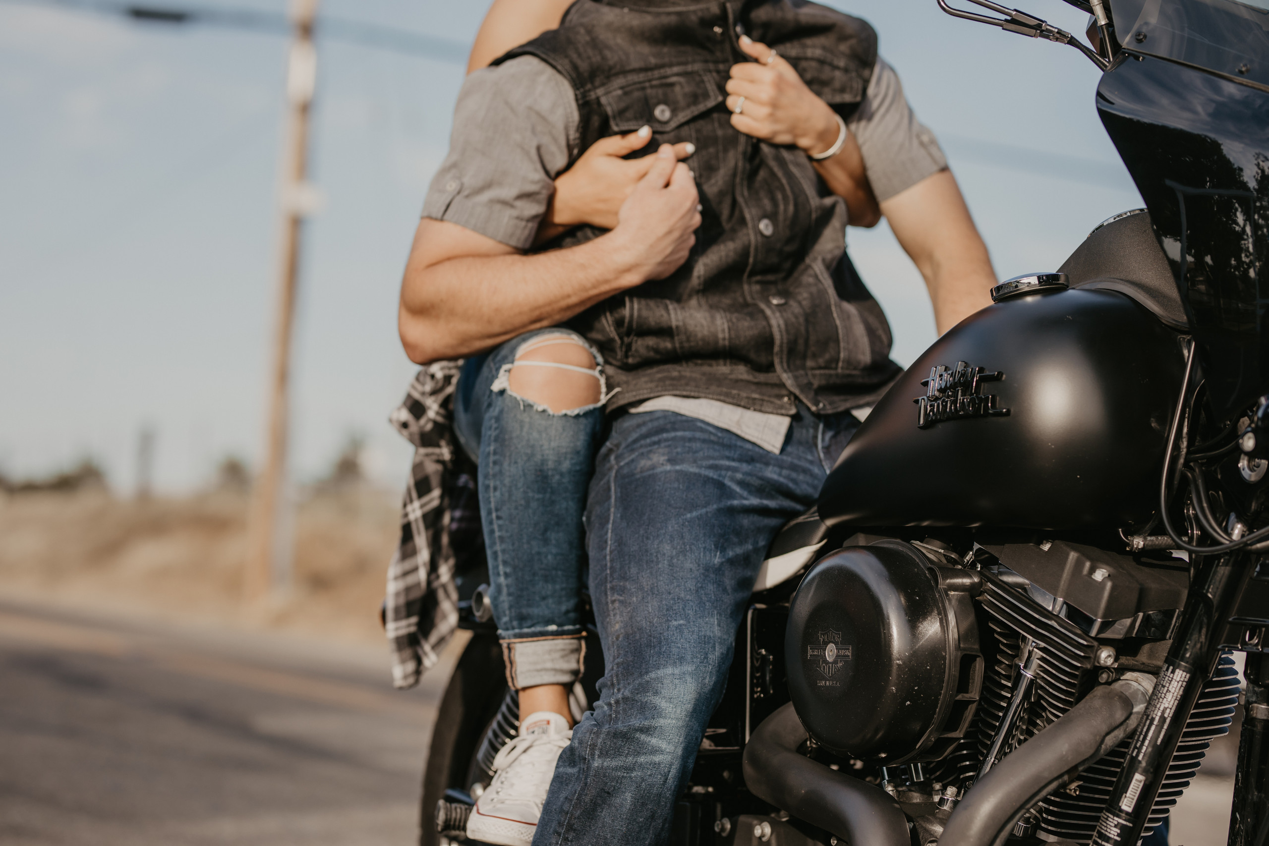 Adventure Engagement Session in Jamestown, CA with Harley Davidson