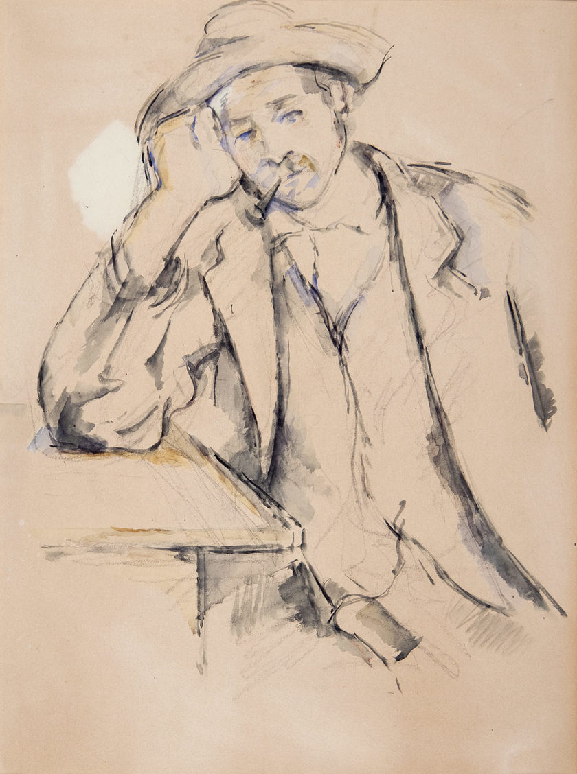 Paul Cézanne. Leaning Smoker (Fumeur accoudé), 1890–1891. Watercolor and graphite on wove paper, Overall: 18 5/8 x 14 1/8 in. (47.3 x 35.9 cm). BF653. Public Domain