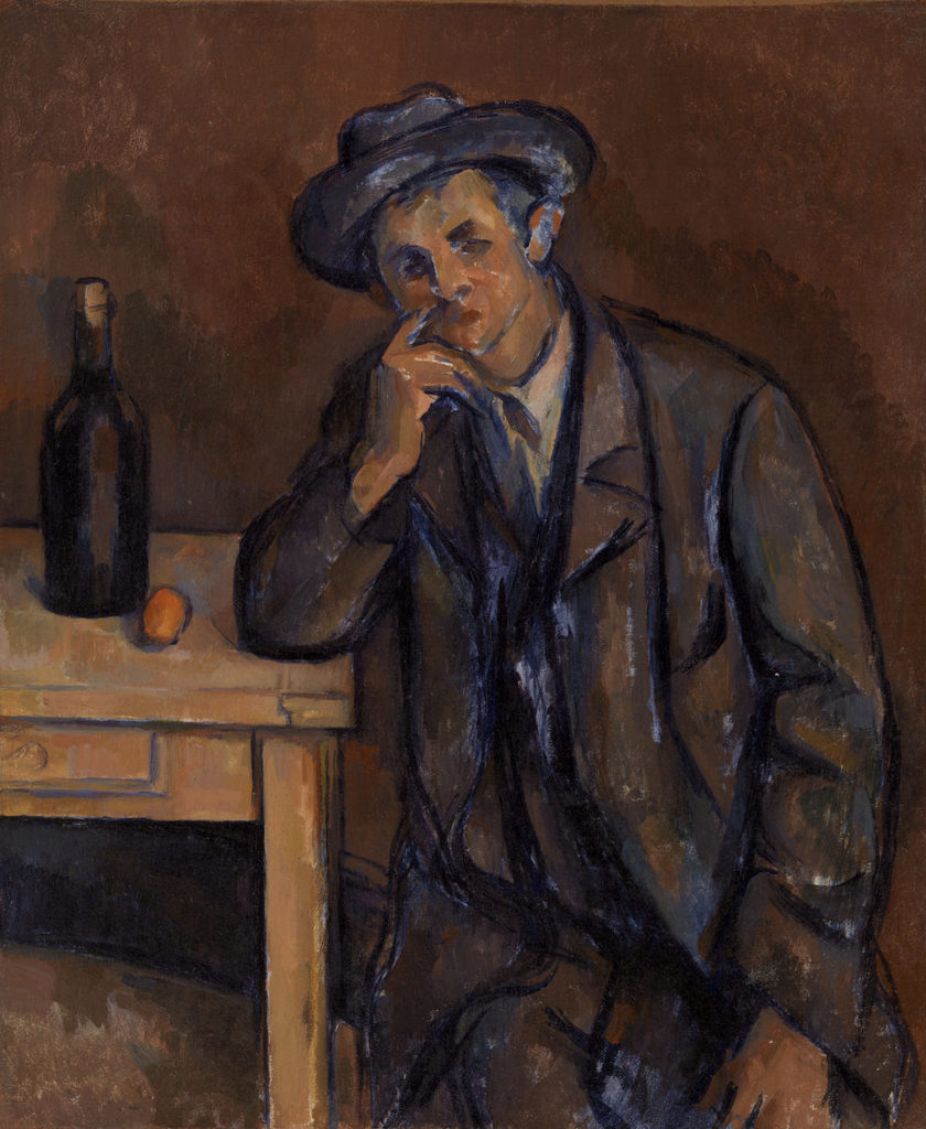Paul Cézanne. The Drinker (Le Buveur), 1898–1900. Oil on canvas, Overall: 18 11/16 × 15 3/8 in. (47.5 × 39 cm). BF189. Public Domain