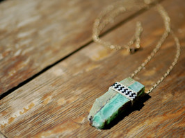 chrysoprase beaded pendant