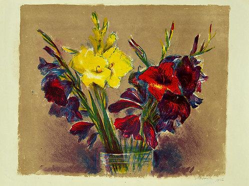 """Цветная литография """"Гладиолусы"""", 1953 год. Для коллекционеров и в подарок ценителям прекрасного."""