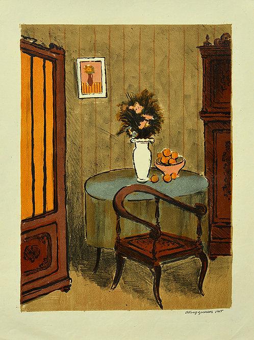 """Литография """"Интерьер с креслом и букет"""" - отличное приобретение для коллекционера, замечательный подарок, украшение интерьера"""