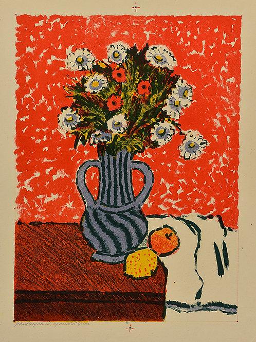 """""""Ромашки на красном фоне"""" - отличное приобретение для коллекционера, замечательный подарок и украшение интерьера"""