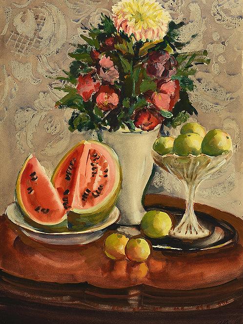 """Акварель """"Натюрморт с арбузом"""" - отличное приобретение для коллекционера, замечательный подарок и украшение интерьера"""