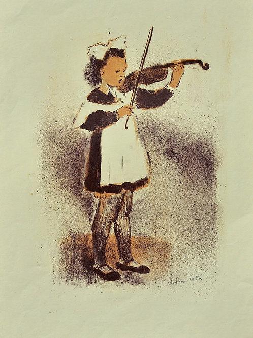 """Цветная литография """"Девочка со скрипкой"""", 1956 год. Для коллекционеров и в подарок ценителям прекрасного."""
