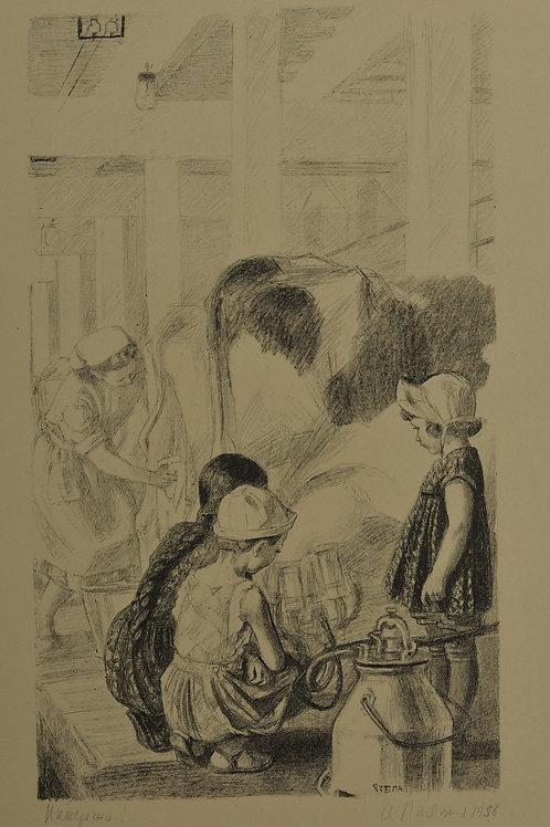 Литография: ПАХОМОВ Алексей Федорович «Интересно» - редкое и отличное приобретение для коллекционера
