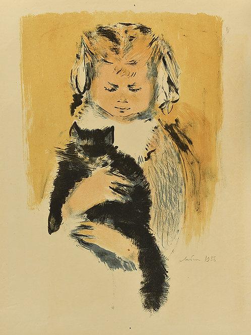 """Цветная литография """"Девочка с котенком"""", 1968 год. Для коллекционеров и в подарок ценителям прекрасного."""