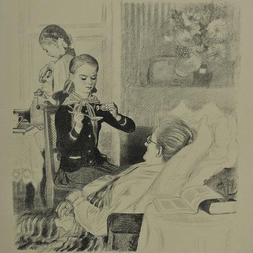 Литография ПАХОМОВ Алексей Федорович «Тимуровцы» - редкое и отличное приобретение для коллекционера