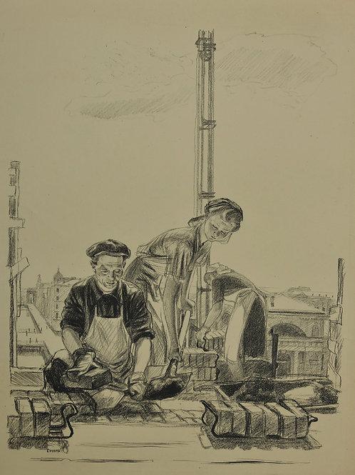Литография ПАХОМОВ Алексей Федорович «На стройке» - редкое и отличное приобретение для коллекционера
