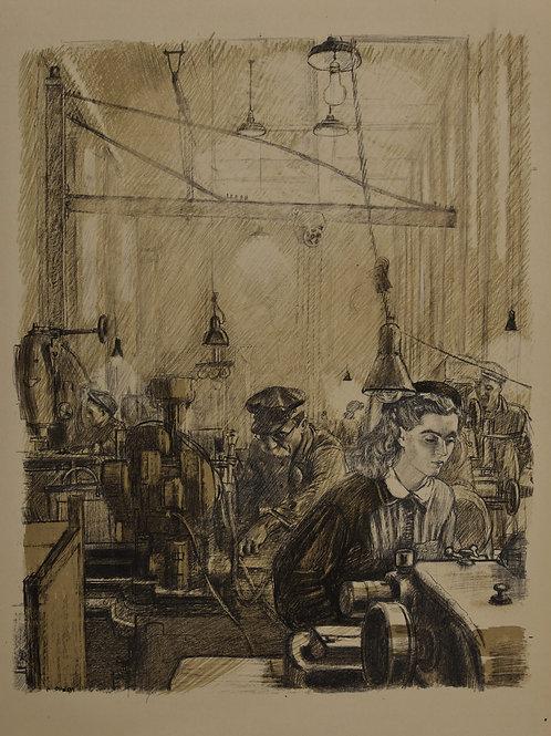 Литография ПАХОМОВ Алексей Федорович «В цехе» - редкое и отличное приобретение для коллекционера