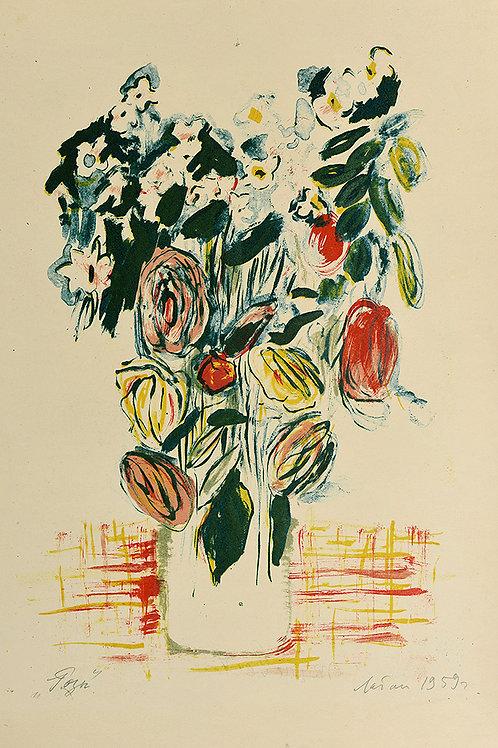 """Цветная литография """"Розы"""", 1959 год. Для коллекционеров и в подарок ценителям прекрасного."""