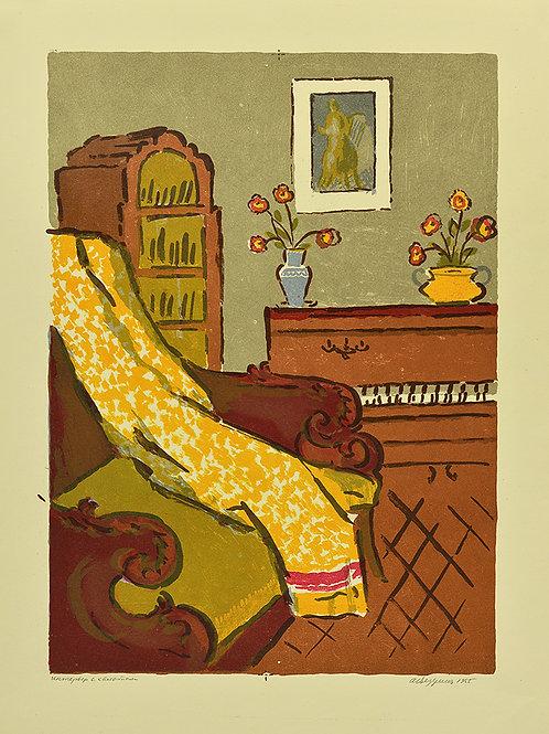 """Цветная литография """"Интерьер с халатом"""" -отличное приобретение для коллекционера, замечательный подарок и украшение интерьера"""