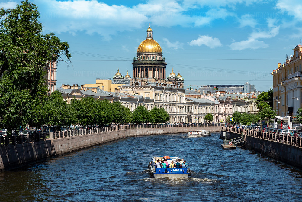 Россия, Санкт-Петербург, Река Мойка. Вид на Исаакиевский собор