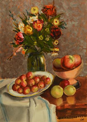 Вдерников В.  акварель -Цветы с яблоками- 615х440.jpg