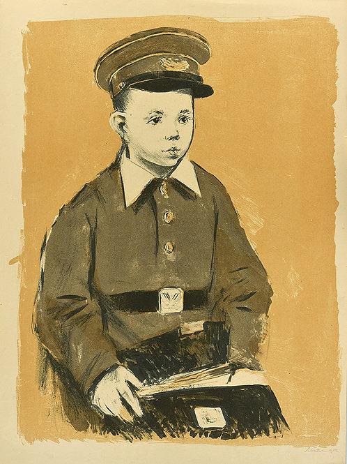 """Цветная литография """"Школьник"""", 1962 год. Для коллекционеров и в подарок ценителям прекрасного."""