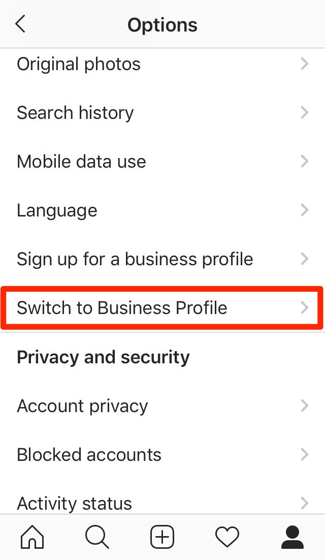 How to switch instagram to business profile