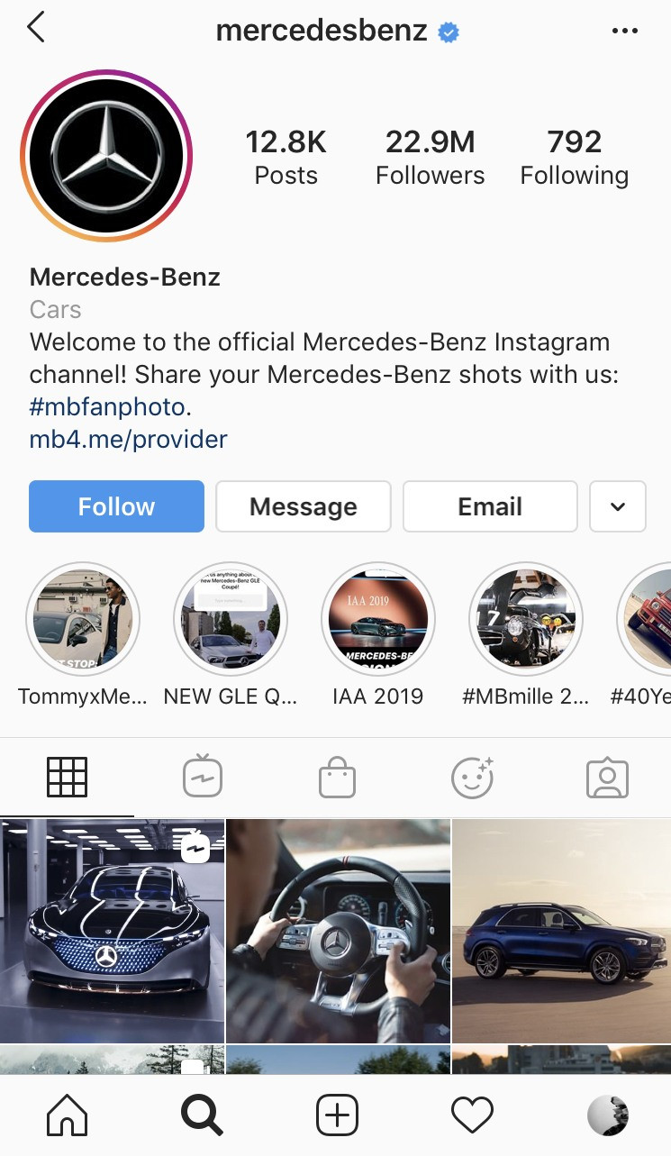 Mercedes Benz Luxury cars instagram page