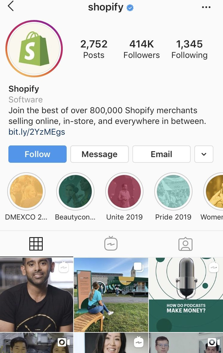 Shopify profile, instagram profile with over 400k, learn how to grow followers