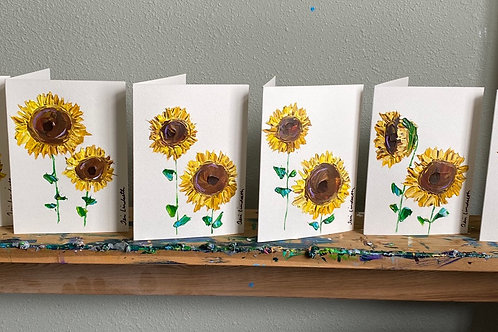 """Set of 5 painted Sunflower greeting cards 5"""" x 7"""""""
