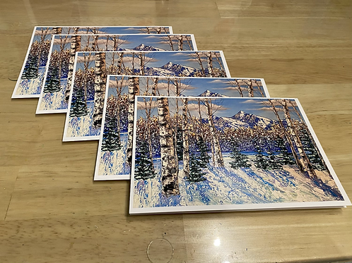 "Set of 5 winter greeting cards - 5"" x 7"""
