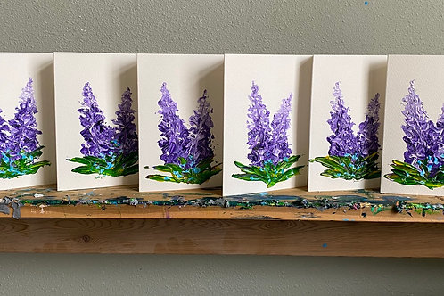 """Set of 5 painted Lupine greeting cards 5"""" x 7"""""""
