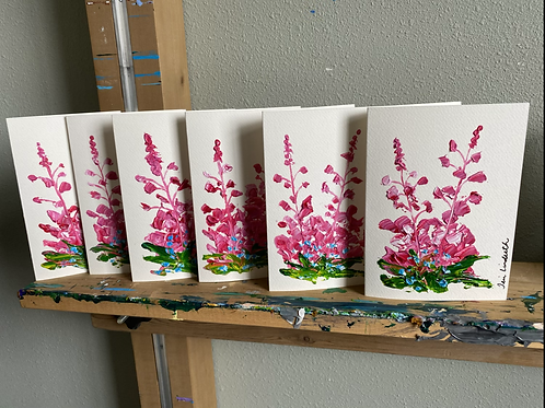 """Set of 5 painted Fireweed greeting cards 5"""" x 7"""""""
