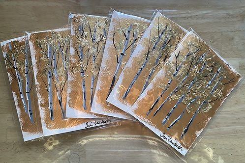 "Set of 5 painted gold birch greeting cards 5"" x 7"""