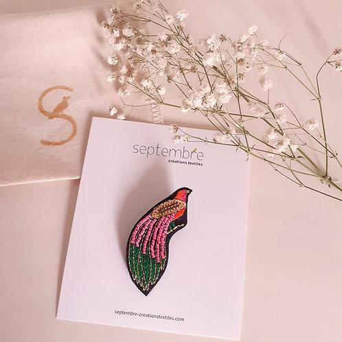 Broche brodée oiseau PARADISIER