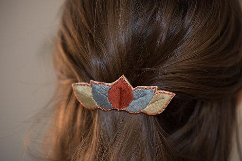 Barrette brodée FEUILLES couleurs d'automne