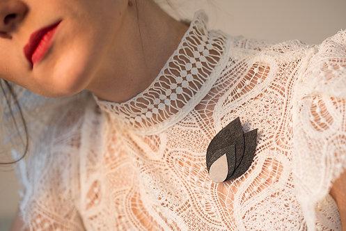 Broche textile FEUILLAGE