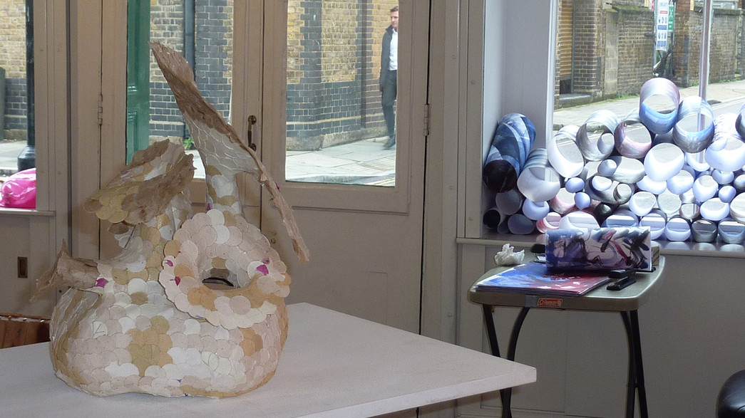 Installation view with Daisy Rickards' p