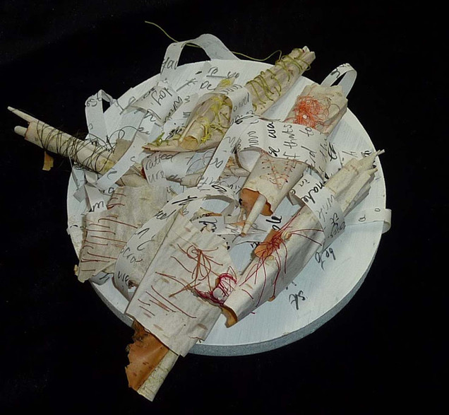 Untitled with paper and bark by Catherin