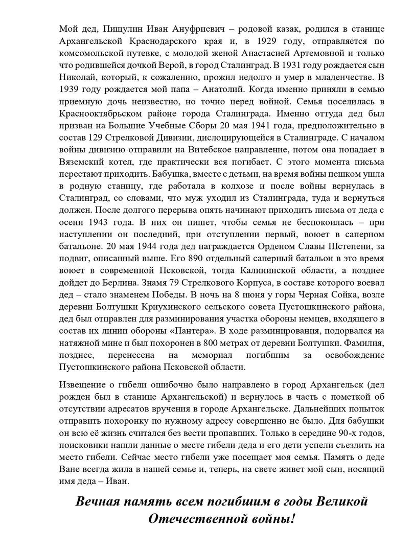 Пищулин Сергей Анатольевич (герой - Пищу