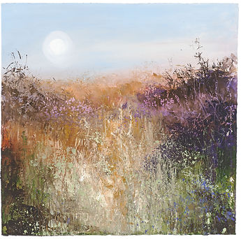 a painting of a field in the sunset by Amanda Hoskin