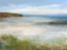 A painting of a beach in Cornwall