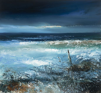 Midnight Sea, Cornwall...oil on paper...